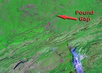 Satellite image of the Appalachian Mountains in the vicinity of Pound Gap and the Pine Mountain Thrust.