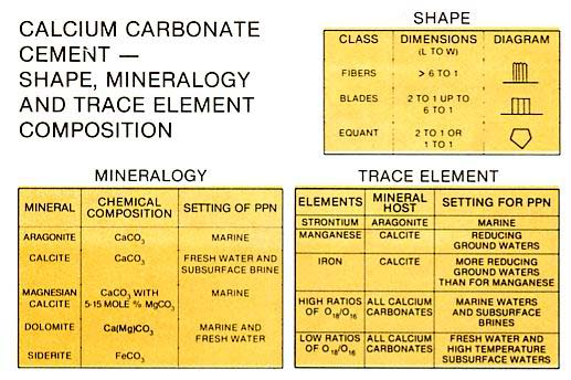 Characteristics of carbonate cements based largely on Folk.